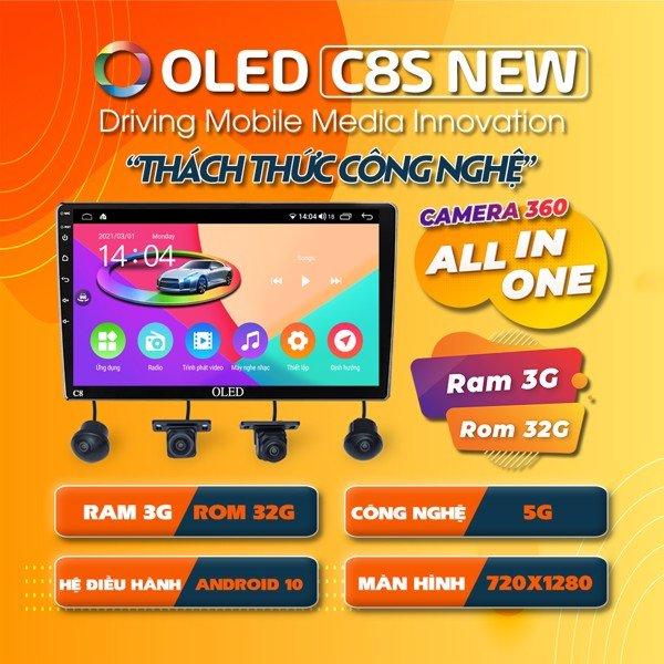 """Màn hình DVD Android tích hợp camera 360 Oled C8s – """"Bước ngoặt"""" của nền công nghệ phụ tùng xe hơi C8s"""
